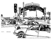 Pier Drawings - Santa Monica Pier Entrance by Robert Birkenes