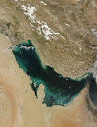Bahrain Framed Prints - Satellite View Of The Persian Gulf Framed Print by Stocktrek Images