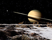 Terrain Digital Art - Saturn Seen From The Surface by Ron Miller