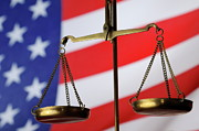 Scales Of Justice And American Flag Print by Sami Sarkis