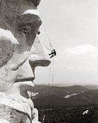 Scaling Mount Rushmore Print by Granger