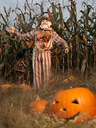 Carved Pumpkin Prints - Scarecrow in a Corn Field Print by Oleksiy Maksymenko