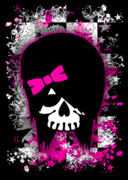 Girly Skull Posters - Scene Kid Girl Skull Poster by Roseanne Jones