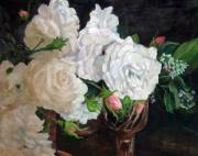 Wine Glasses Paintings - Scent of Roses by Jimmie Trotter