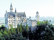 Europe Drawings - Schloss Neuschwanstein Germany by Joseph Hendrix