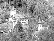 Europe Drawings - Schloss Wimmis and Church Wimmis Switzerland by Joseph Hendrix