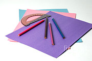 Colored Paper Prints - School Supplies Print by Photo Researchers, Inc.