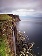 Waterfall Framed Prints - Scotland Kilt Rock Framed Print by Nina Papiorek