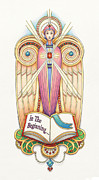 Jesus Drawings Posters - Scroll Angel - Ionica Poster by Amy S Turner