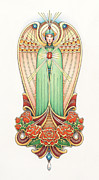 Colored Pencil Drawings Prints - Scroll Angel - Roselind Print by Amy S Turner