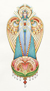 Jesus Drawings Posters - Scroll Angels - Lillium Poster by Amy S Turner