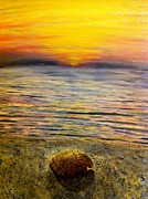 Sunrise Over Water Paintings - Sea Shell by Joan Bohls
