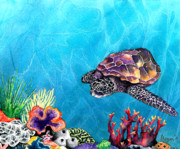 Light Aqua Prints - Sea Turtle Print by Brazen Edwards