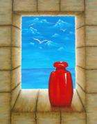 Oeil Posters - Sea View From Castle Poster by Pamela Allegretto