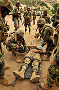 Misfortune Prints - Seabees Conduct A Mass Casualty Drill Print by Stocktrek Images