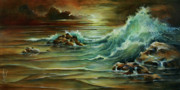 Ocean Wave Painting Framed Prints - Seascape Framed Print by Michael Lang