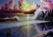 Beach Reliefs - Seascape Sunset by John Cocoris