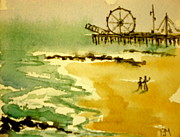 Ocean Shore Drawings Prints - Seaside Print by Pete Maier