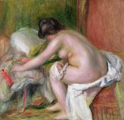 Bathing Washing Cleaning Prints - Seated Bather Print by Pierre Auguste Renoir