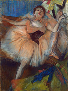 Ballet Dancers Pastels Prints - Seated Dancer Print by Edgar Degas