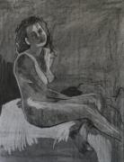 Female Figure Drawings Drawings Posters - Seated Female Nude Poster by Joanne Claxton