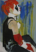 Collar Drawings Prints - Seated lady clown Print by Joanne Claxton