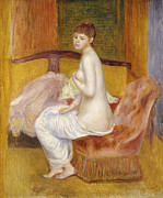 Brown Hair Metal Prints - Seated Nude Metal Print by Pierre Auguste Renoir