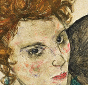 Woman With Black Hair Art - Seated Woman with Bent Knee by Egon Schiele