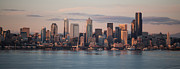 Seattle Skyline Posters - Seattle Dusk Poster by Mike Reid