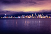 Calm Water Acrylic Prints - Seattle From Alki Acrylic Print by Tanya Harrison