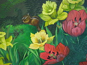 Chipmunks Paintings - Secret Garden Mural by Diana Schuppel