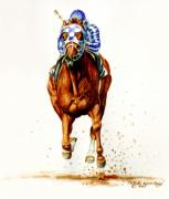 Animal Art Greeting Cards Posters - Secretariat at Belmont Poster by Thomas Allen Pauly
