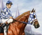 Animal Portrait Greeting Cards Art - Secretariat at Churchill by Thomas Allen Pauly