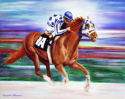 Horse Racing Paintings - Secretariat Painting Blurred Speed by Jennifer Morrison Godshalk