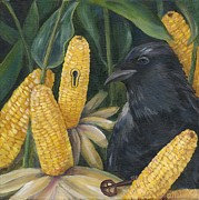 Cornfield Paintings - Secrets Of The Garden- CROW by Debbie McCulley