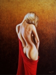 Woman Painting Prints - Secrets of the Red Veil Print by Horacio Cardozo