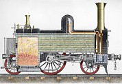 Boiler Photo Posters - Sectional View Of 19thc Locomotive Poster by Sheila Terry