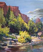 Creek Paintings - Sedona creek by Bob Duncan