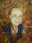 Self Portrait Pastels Prints - Self-portrait Print by Agnes Varnagy