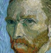 Close Up Painting Metal Prints - Self-portrait Metal Print by Vincent Van Gogh