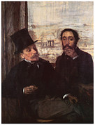 Self-portrait Prints - Self-portrait with Evariste de Valernes Print by Edgar Degas