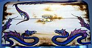 Mixed Media Pyrography Pyrography - Serpent chest by Amanda Martin