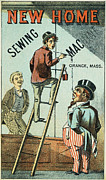 1880s Prints - Sewing Machine Trade Card Print by Granger