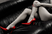 Divan Framed Prints - Sexy Long Legs in Red High Heels Framed Print by Oleksiy Maksymenko