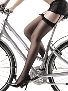 Garter Belt Framed Prints - Sexy Woman Riding a Bike Framed Print by Oleksiy Maksymenko