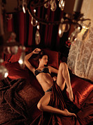Chandelier Prints - Sexy Young Woman Lying in Bed Print by Oleksiy Maksymenko