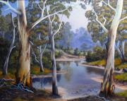 Landscapes Reliefs Originals - Shallow River by John Cocoris