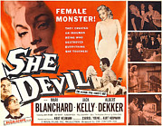 Horror Movies Framed Prints - She Devil, Blonde Woman Featured Framed Print by Everett