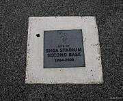 New York Baseball Parks Metal Prints - Shea Stadium Second Base Metal Print by Rob Hans