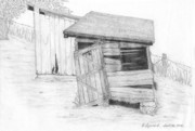 Old Shed Drawings Framed Prints - Shed and WPA Outhouse on Johnson Farm Framed Print by Tree Whisper Art - DLynneS